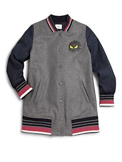 ba6be30565825 Fendi - Toddler s   Little Girl s Monster Logo Varsity Jacket ...