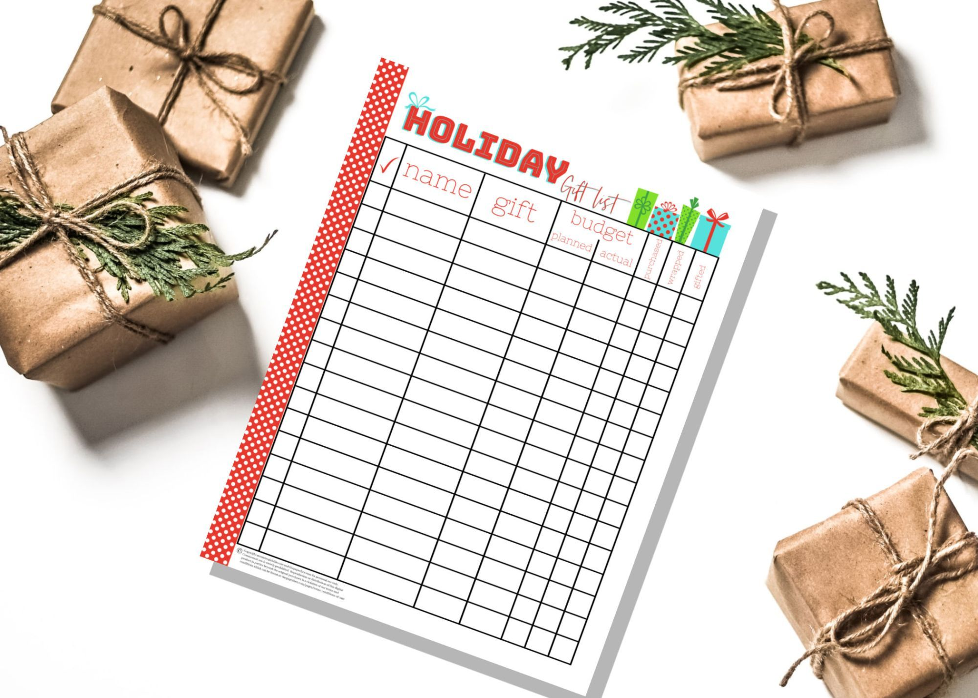 Free Printable Holiday T List Planner Amp List Organizer