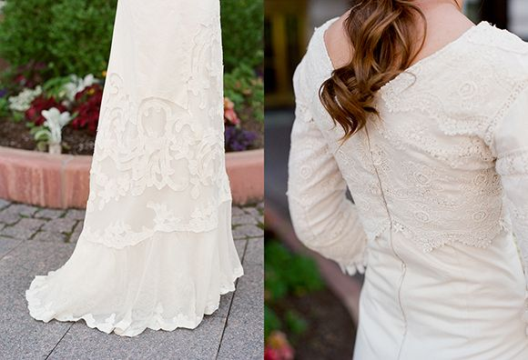 DIY Dress: The materials she used were 1) an anthropologie shower curtain for the bottom portion and 2) her Grandmother's lace from her original wedding dress for the top portion. Seriously incredible.