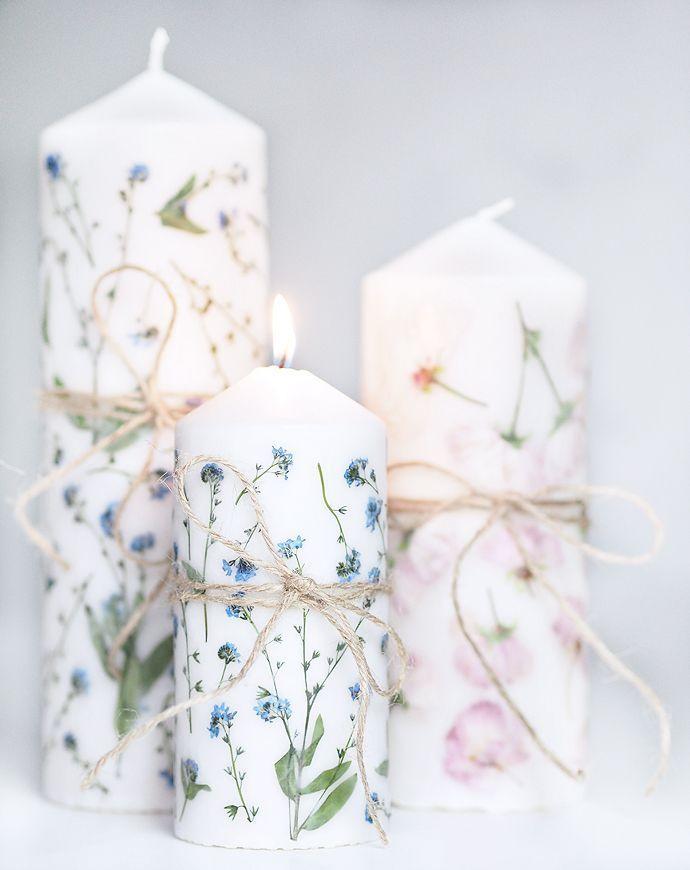 Photo of Muttertags DIY Geschenkidee Kerze mit getrockneten Blumen
