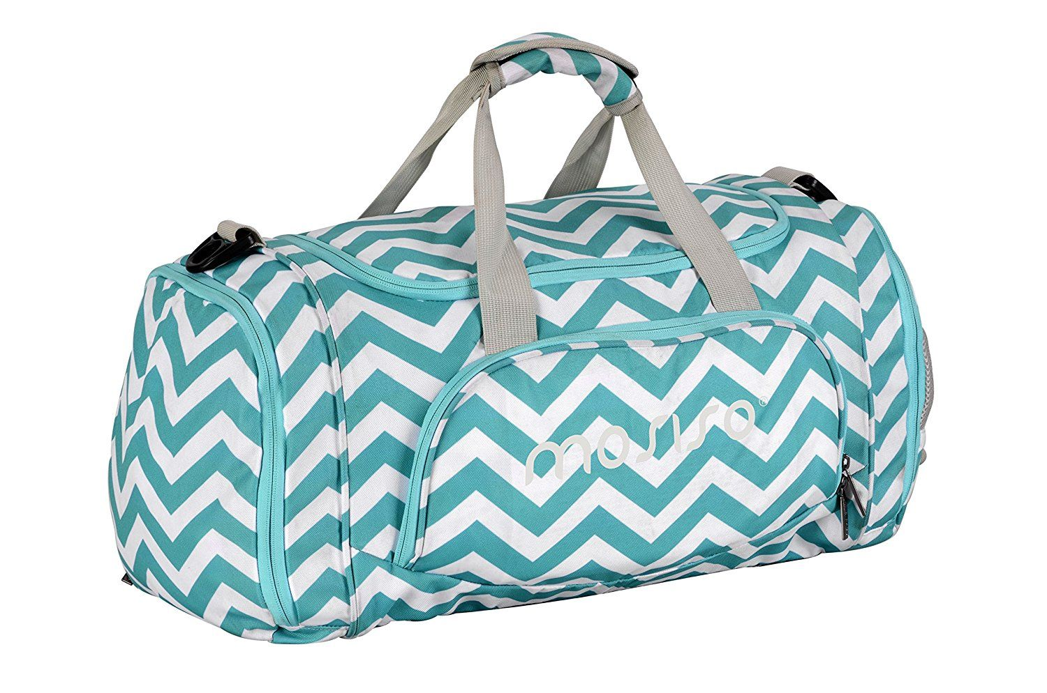 7433b92d8f Amazon.com: Mosiso Canvas Fabric Foldable Travel Luggage Duffels Shoulder  Bag Lightweight for Sports, Gym, Vacation, Chevron Hot Blue: Sports &  Outdoors