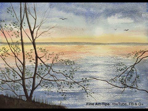 Comment Peindre A L Aquarelle Un Paysage Marin Avec Des Reflets