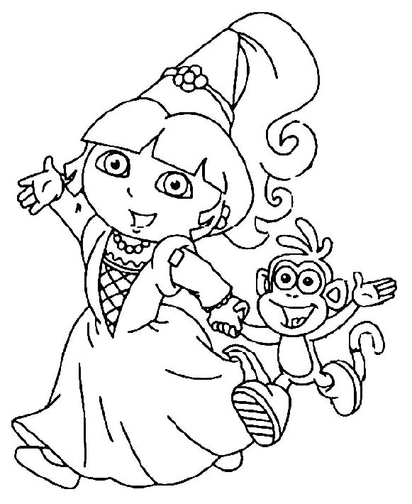 Dora Went To Party With Boots Coloring Pages Princess Coloring Pages Cartoon Coloring Pages Dora Coloring