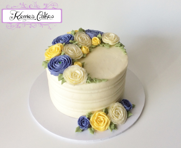 Buttercream Spring Roses and Ranunculus, by Kerrie's Cakes www.kerriescakes.com