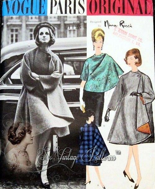 1960s Rare Nina Ricci Cape Coat Pattern VOGUE PARIS ORIGINAL 1125 ...