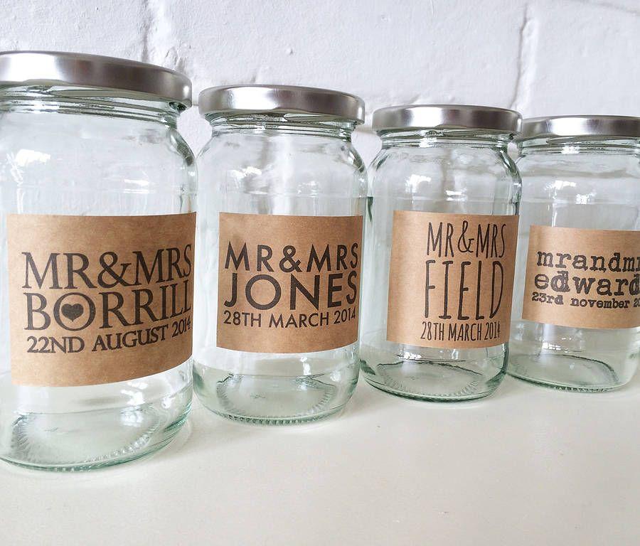 Personalised wedding labelled jam jar