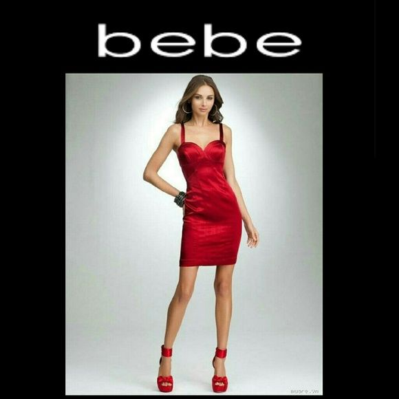 JUST IN Bebe sexy red stretch bandage dress Smoking hot red metallic red (as shown in stock photo) dress. Fully lined and a lot of stretch. Cleavage enhancing bodice style top. Tagged as size XS but easily fits small, up to size 4 depending on desired fit . My mannequin is a 4/6.  NO TRADES PLEASE! OFFERS WELCOME THROUGH OFFER FEATURE ONLY PLEASE! bebe Dresses
