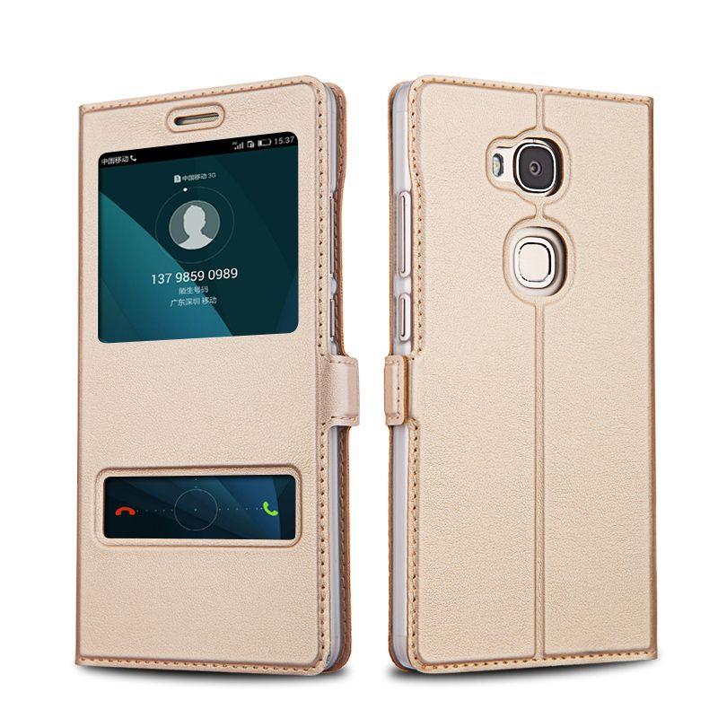 Huawei honor 5x case protector de la cubierta del tirón del cuero de lujo capa coque honor5x doble ventana bolsa de couro fundas teléfono móvil casos