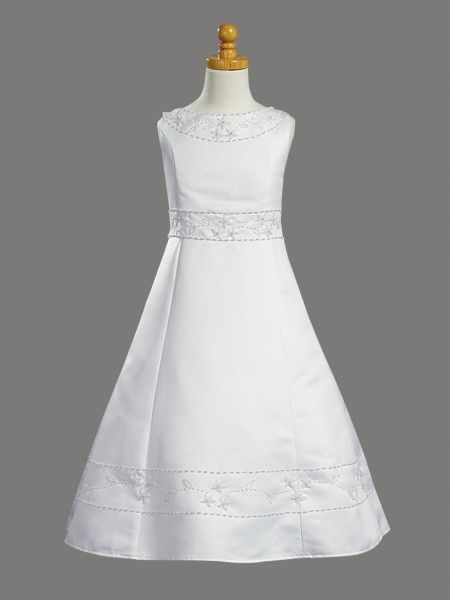 6c544dfee25 First Communion Dress with Beaded Satin and Shawl - White