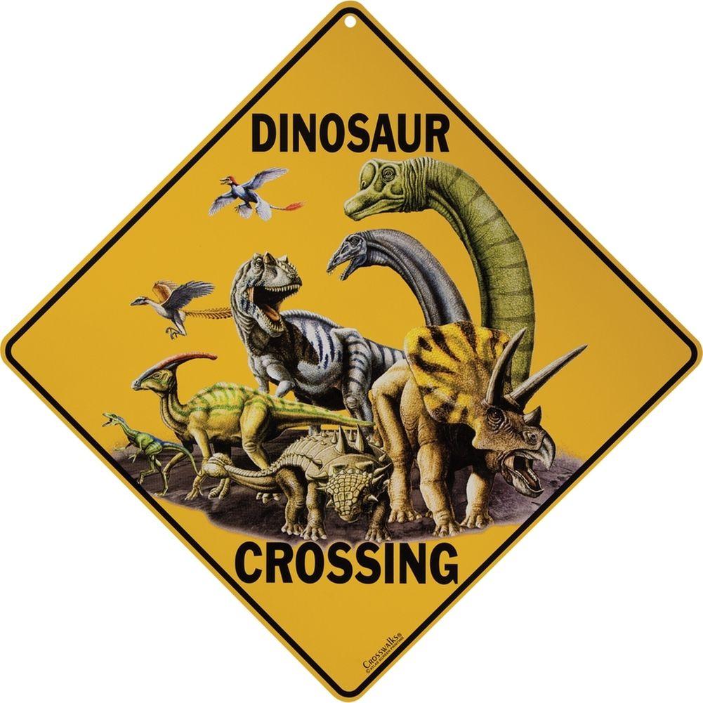 Dinosaur Crossing Aluminum Sign Animalworld Com