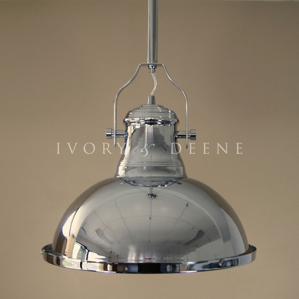 LARGE PENDANT LIGHT Polished Chrome Loft Industrial Down