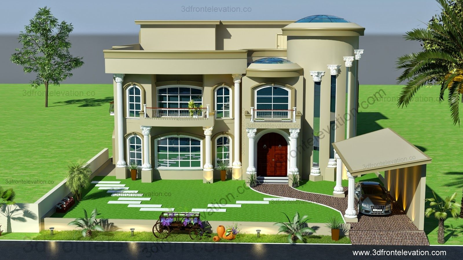 3d front beautiful modern villa design 2015 for Villa maison plans photos