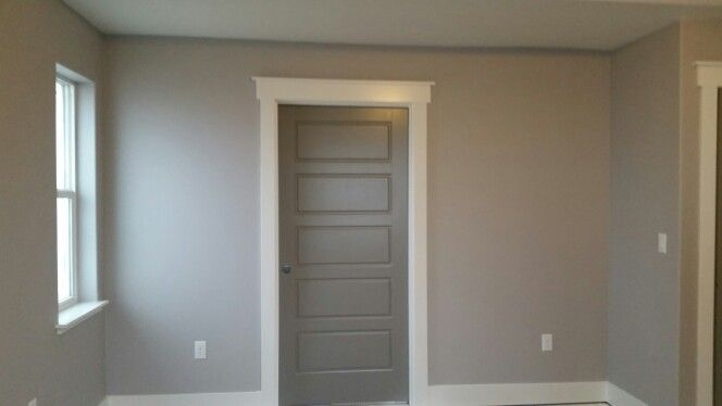 Light Gray Wall White Trim And Dark Gray Doors Modern Chic Contemporary Simple Trim Sw Grey Interior
