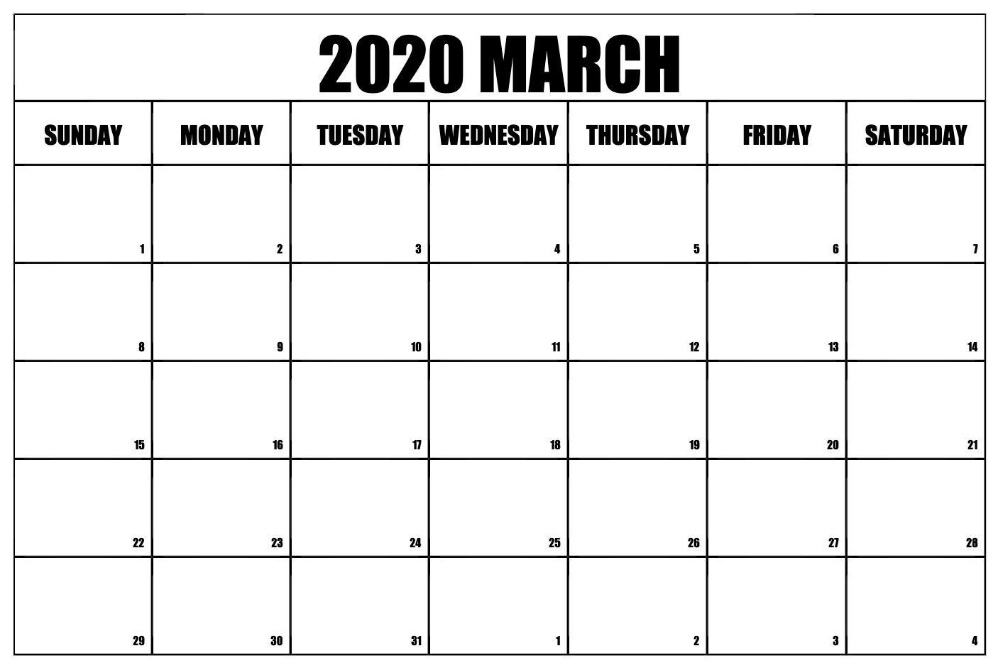 March 2020 Calendar Pdf Word Excel Printable Template