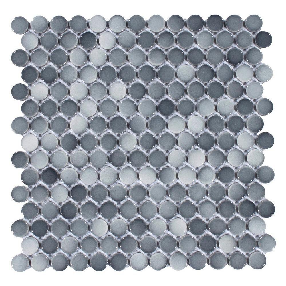 Dark Gray II Penny Porcelain Mosaic Shower floor tile
