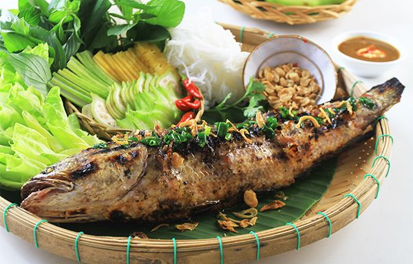 Vietnamese Recipes – Grilled Mullet (Southern Cuisine) – Ca Loc Nuong Trui ( Mon Nam Bo)