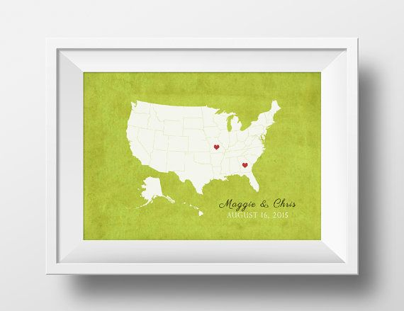 Alternative Wedding Gifts: Alternative Wedding Guestbook, US Map Guestbook, Wedding