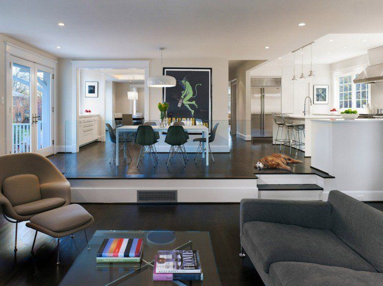 Design de salon salon en contrebas pour rehausser son style - salon sejour cuisine ouverte