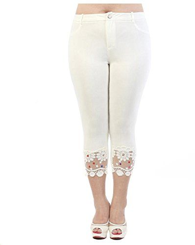 2ab6e5b78 Soyoo Women's Legging Capri Pant Stretchy Lace Rhinestone Design White