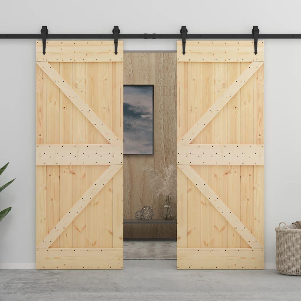 vidaXL Sliding Door with Hardware 80×210 cm Solid Wood with …