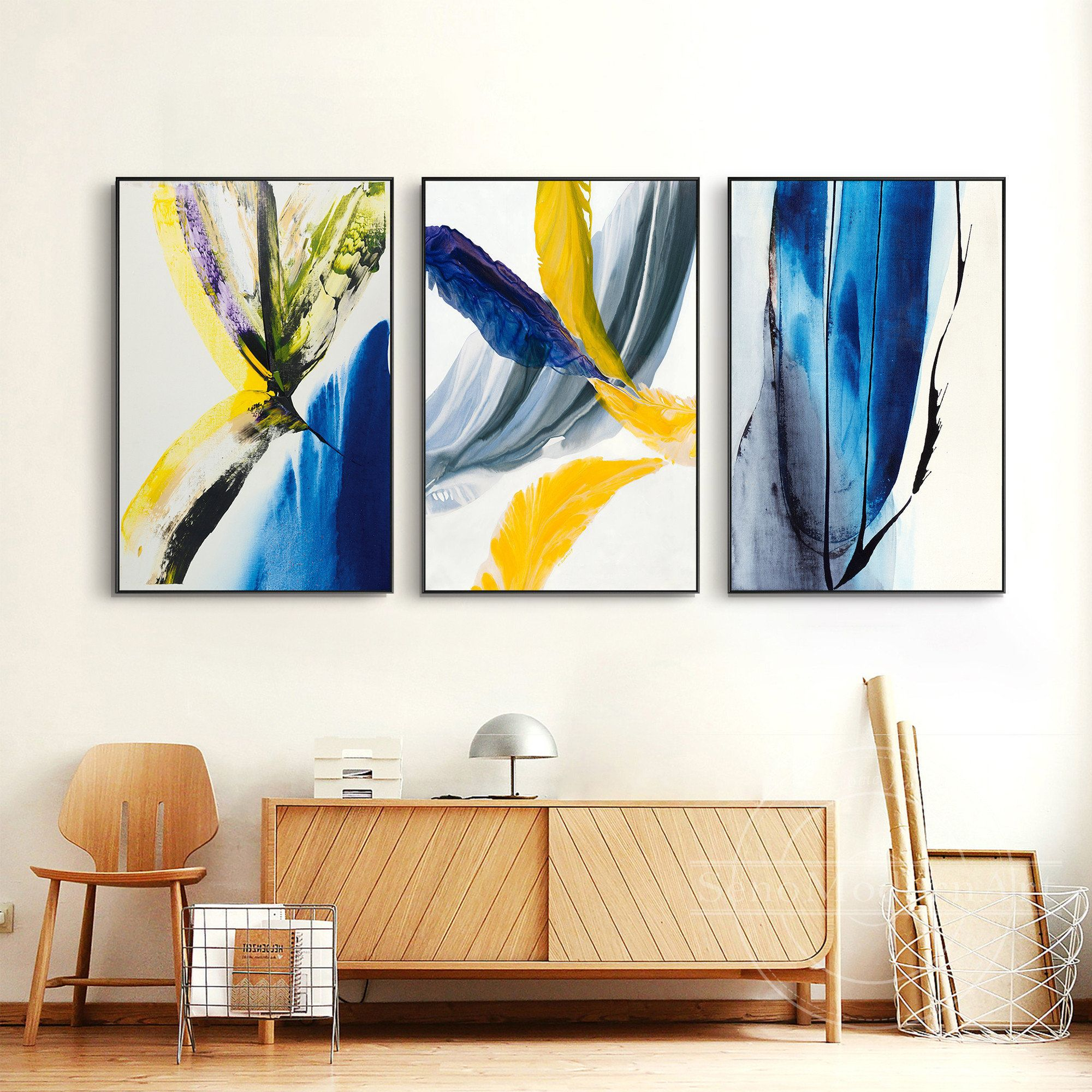 Set Of 3 Frame Wall Art Abstract Blue Black Yellow Grey Etsy In 2021 Canvas Wall Art Wall Canvas Framed Wall Art