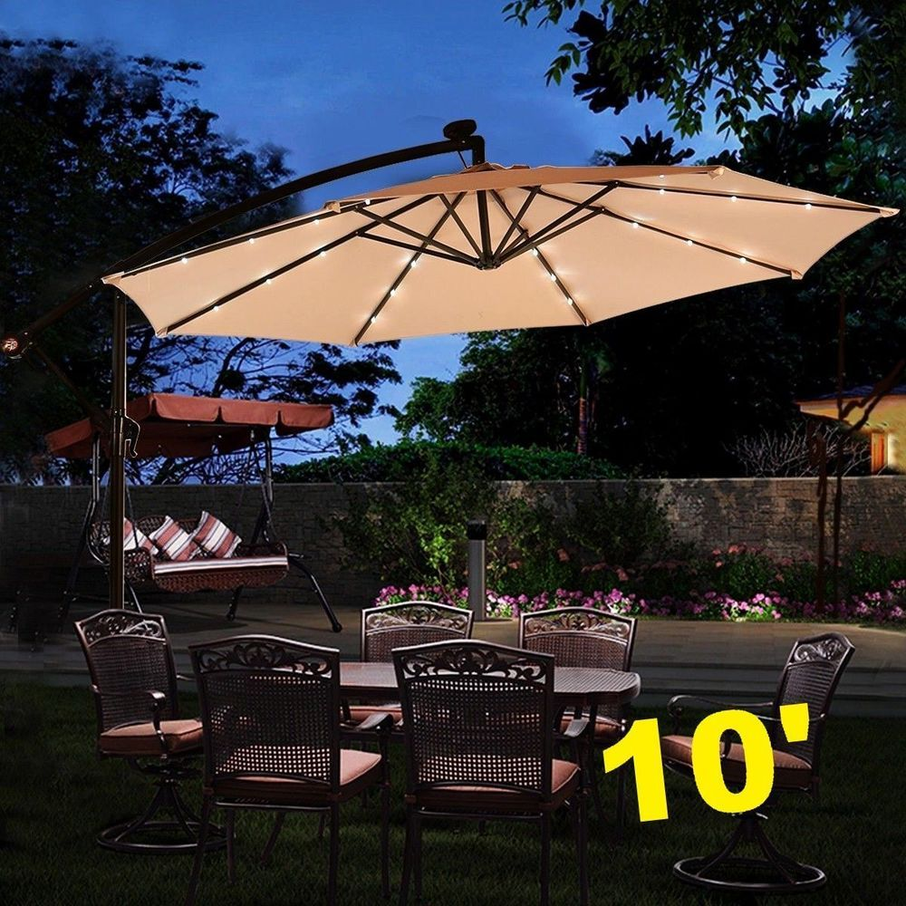 Large Hanging Umbrella W Solar Led Lights Sun Shade Canopy Outdoor