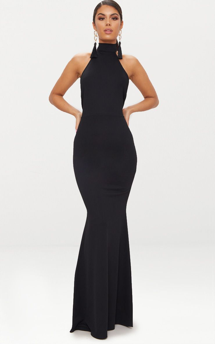 da5131c41ef3 Black Cross Back High Neck Maxi DressChannel elegance and sophistication  with this maxi dress. Fe.