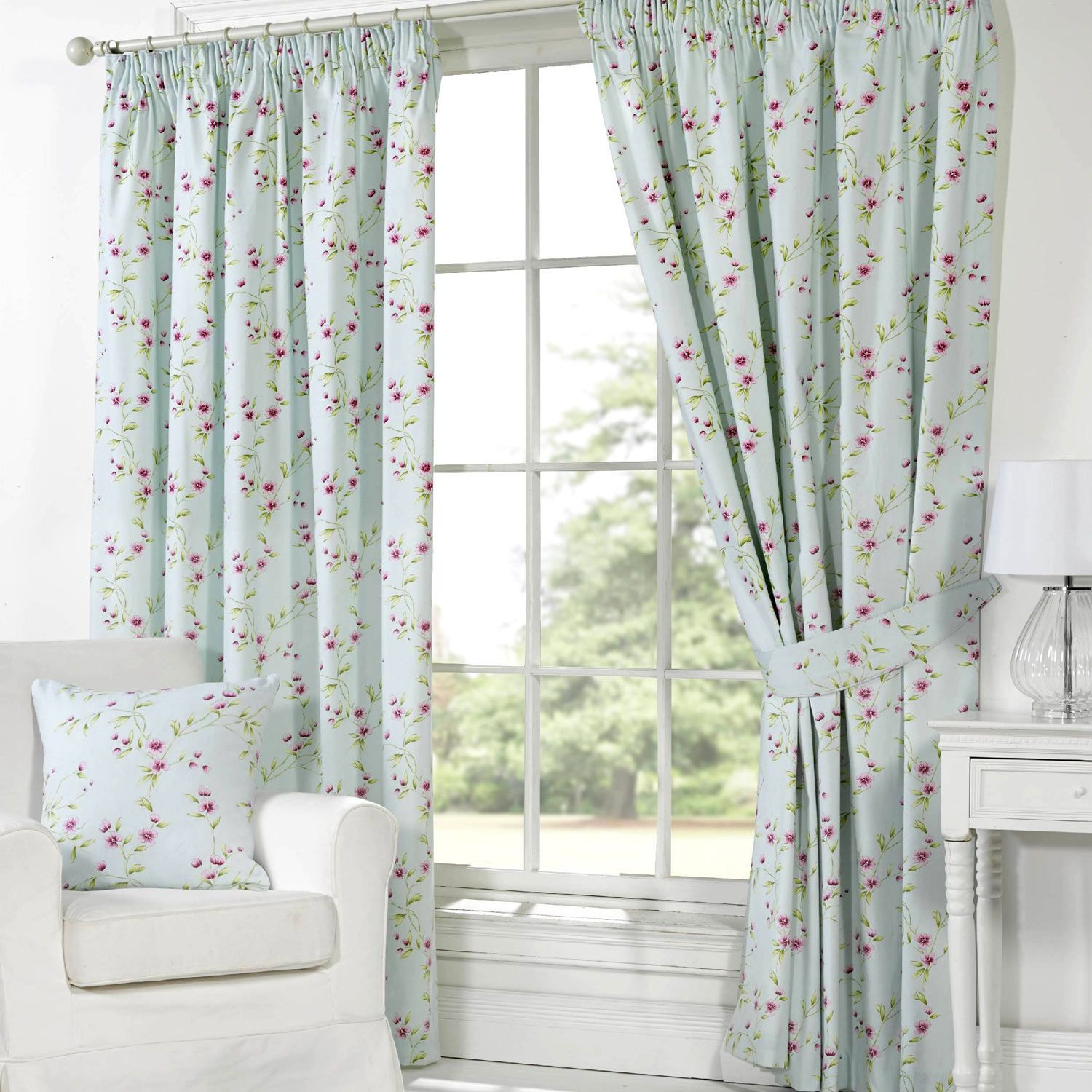 Pippa Floral Print Curtains   Duck Egg From £20