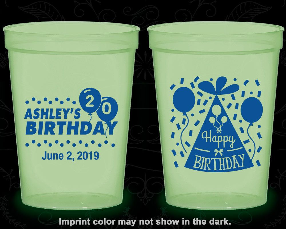 20th Birthday Glow in the Dark Cups, Happy Birthday, Birthday Hat, Glow Birthday Party (20114)