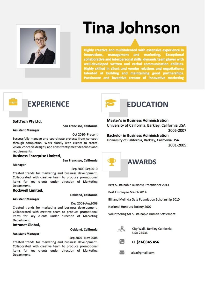 Yellow Grey Two Column Professional Resume Word Resume