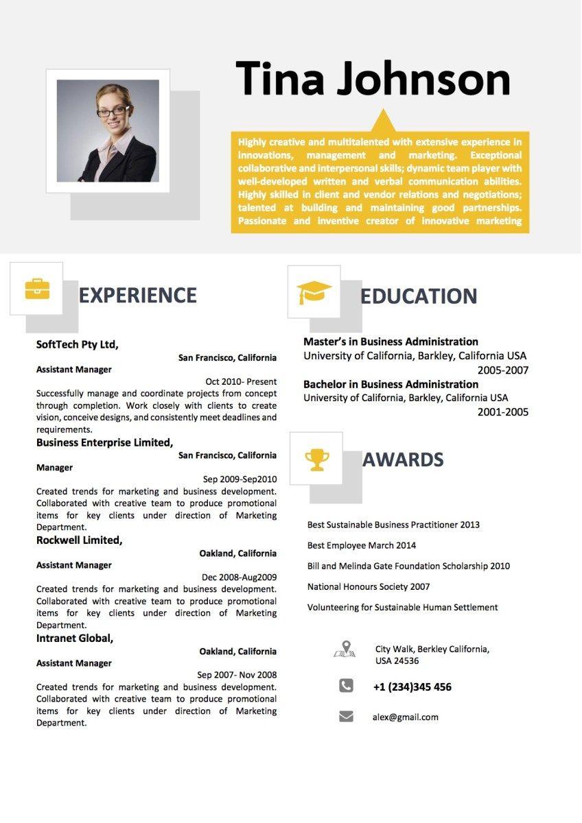 Yellow Grey Two Column Professional Resume Vista Resume Resume Professional Resume Design Template