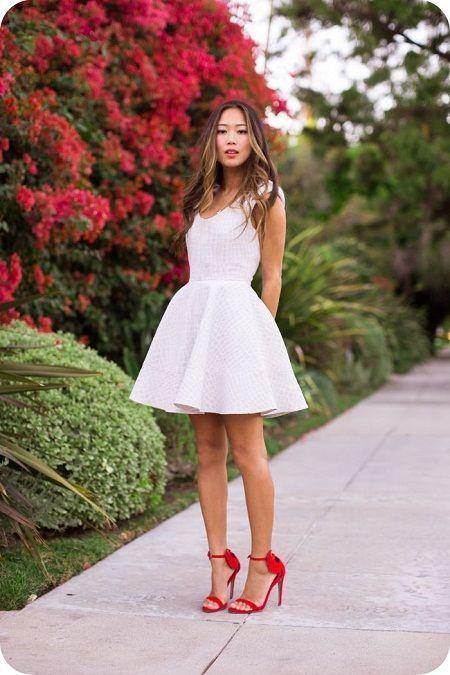 Sukienka Hm Biala Pikowana Rozkloszowana Modna L 5470958714 Oficjalne Archiwum Allegro White Dresses For Women White Dress Trendy Dresses