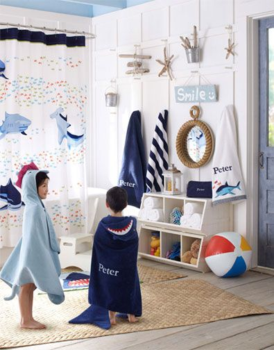 Love The Peg Idea For The Boys Bathroom Pottery Barn Kids Kids Bathroom Shower Curtain Boys Bathroom
