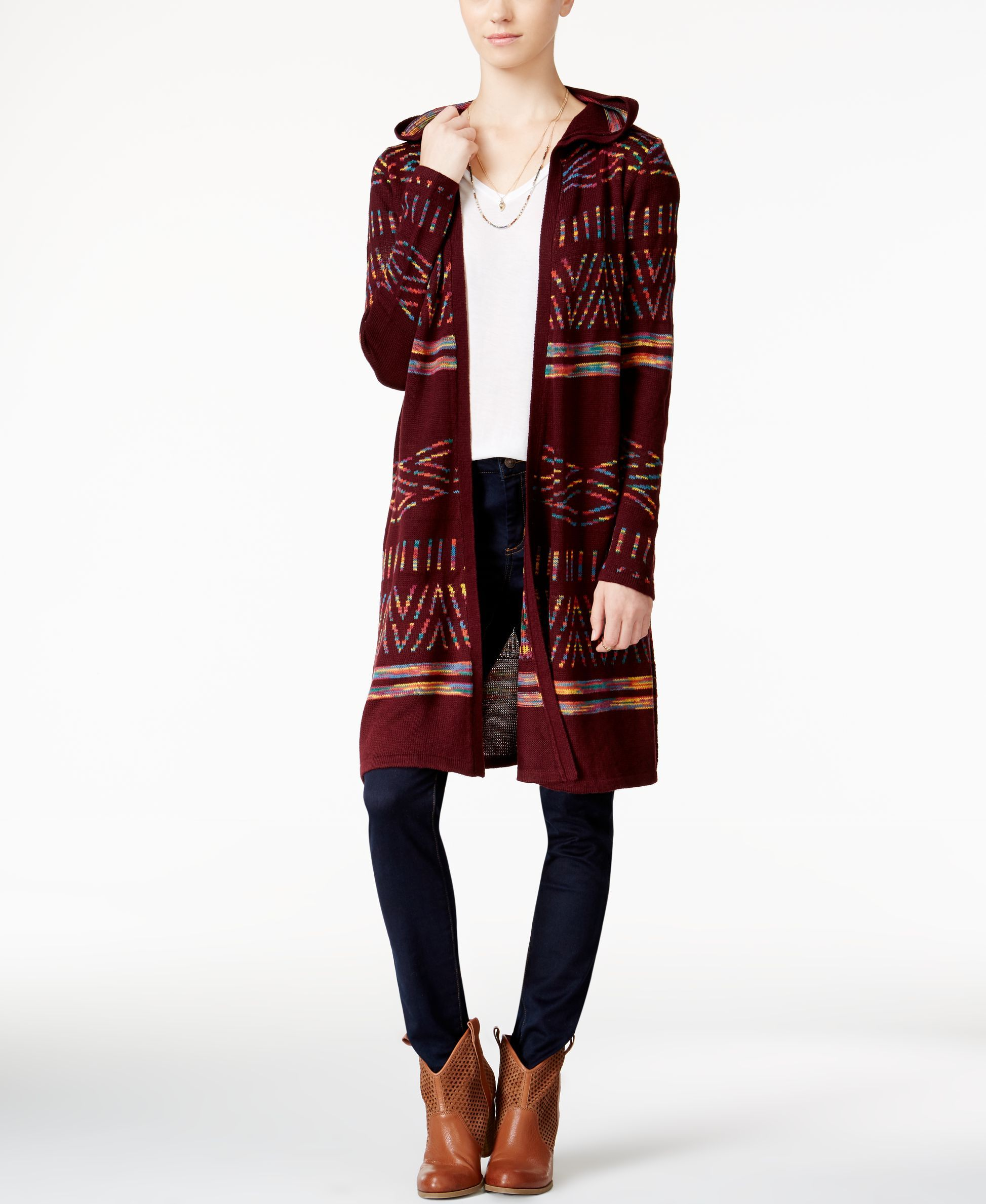 Hooked Up by Iot Juniors' Hooded Midi Cardigan | Products ...