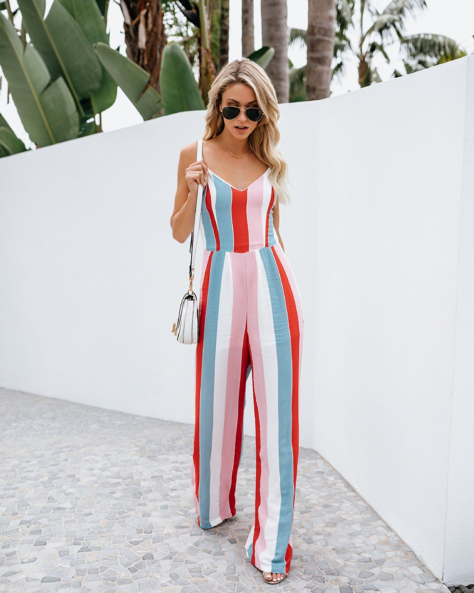 13110452a4dc88 Women Summer V-neck Backless Bowknot Sling Long Jumpsuit Casual Striped  Playsuit