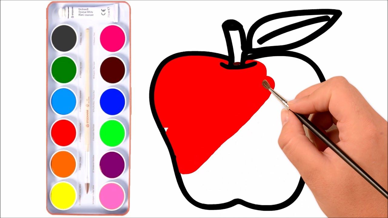 How to Draw Apple coloring Pages YouTube Videos for Kids | Learn ...