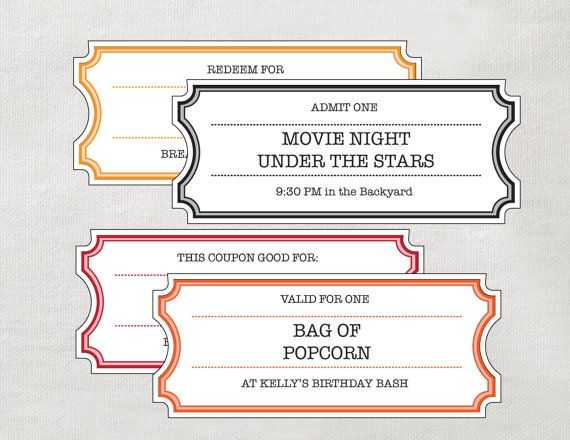 printable coupons tickets vouchers movie night colors diy