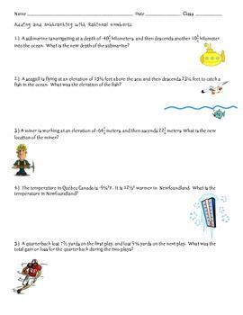 Adding And Subtracting Rational Numbers Word Problems   Math  Adding And Subtracting Rational Numbers Word Problems  Page Worksheet That  Involves Addition And Subtraction Of