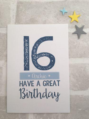 Personalised Birthday Card Boy Teenage 13th 16th 18th 21st Son Nephew Grandson Happy Birthday Wishes Cards 16th Birthday Quotes Personalized Birthday Cards