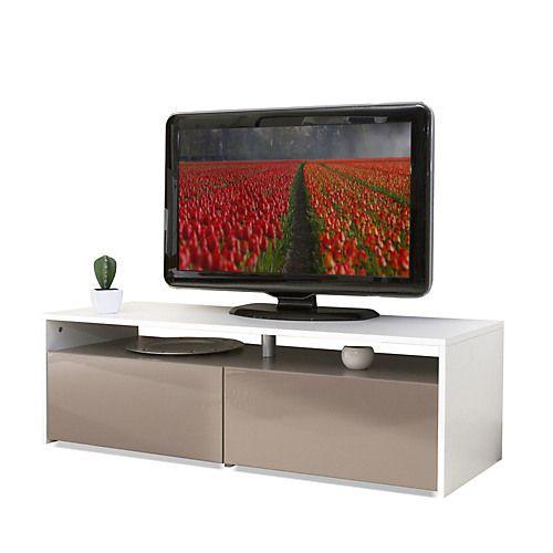 Meuble TV bi-colore taupe/blanc 2 tiroirs - Longo - Meubles télé ...