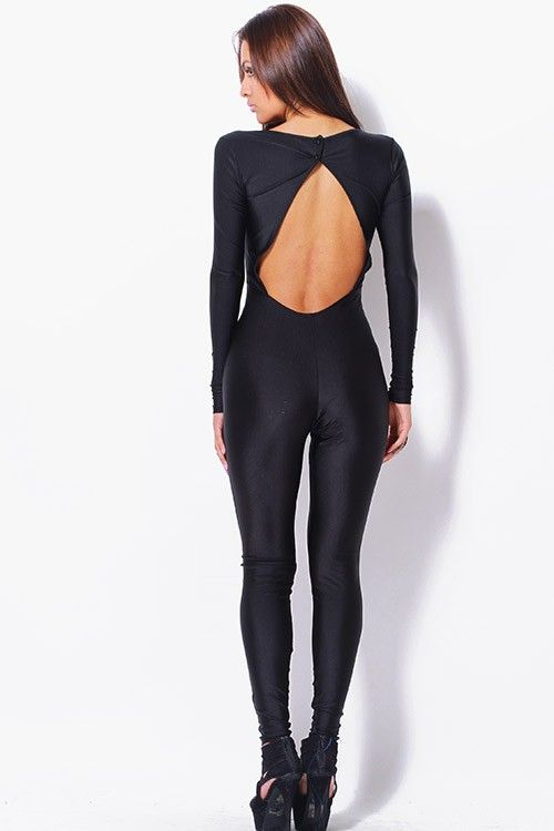 8f3d8fbea5e  clubwear21.com  dress  fashion black mesh inset backless fitted catsuit  jumpsuit- 69.00