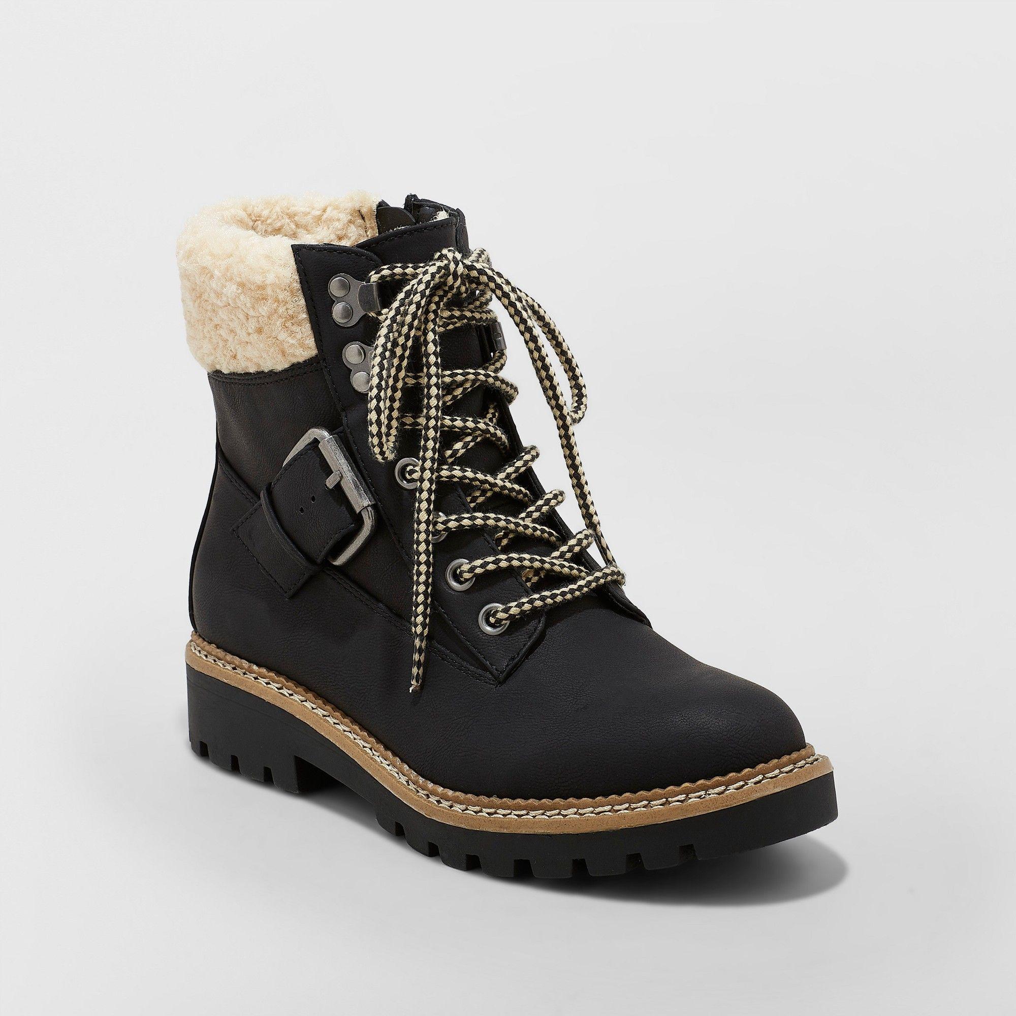 03ba9b7d9692 Women s Susan Sherpa Tipped Hiker Boots - Universal Thread Black 8.5 ...