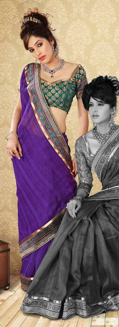 $47.75 Purple Art Silk Saree 19980 With Unstitched Blouse