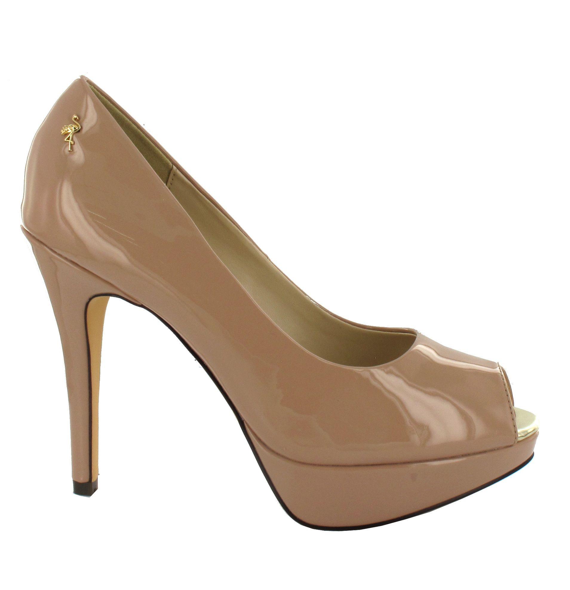 Zapatos peep toe de charol nude zXm61
