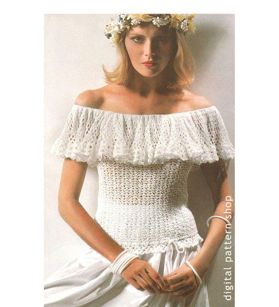 Crochet Top Pattern 1970s Vintage Ruffle Off Shoulder Top