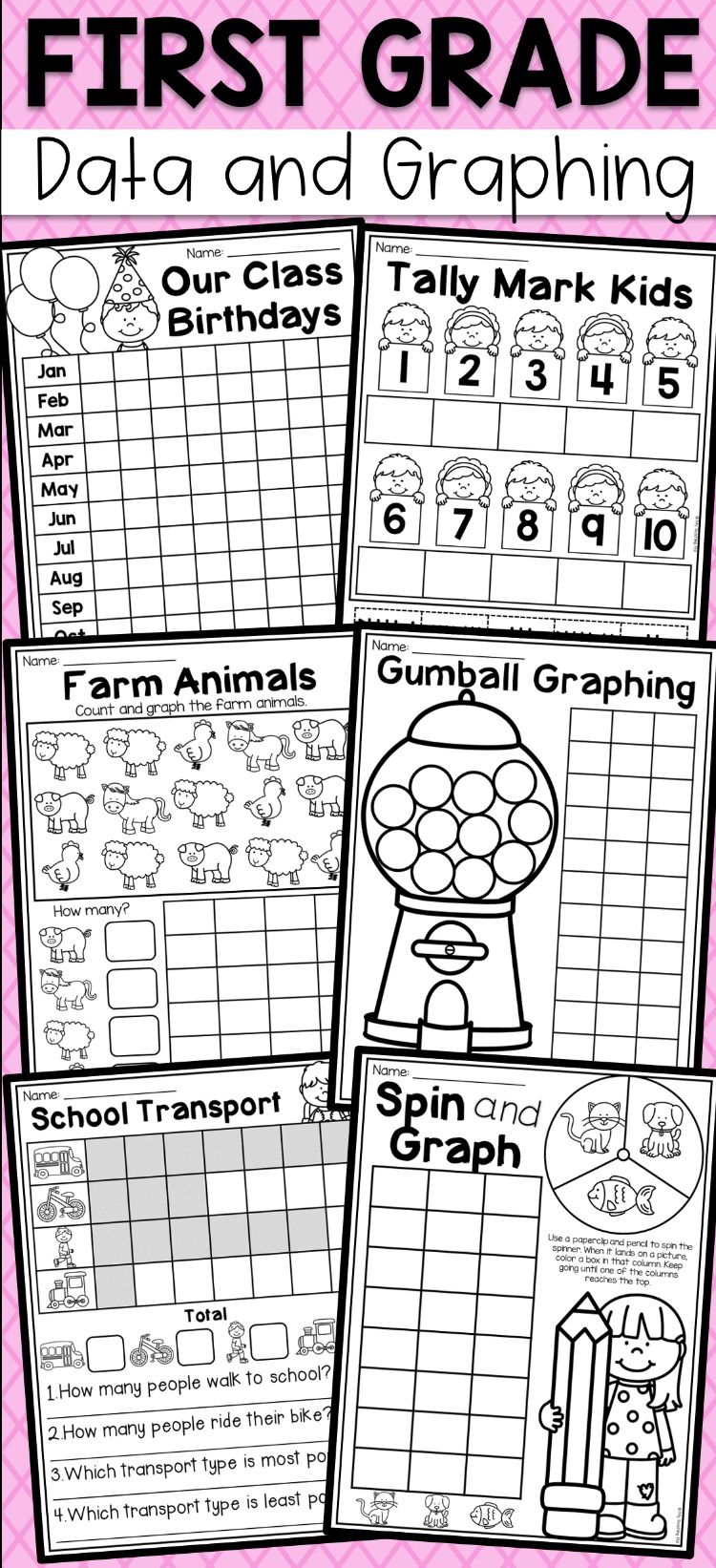 First Grade Data and Graphing Worksheets - Distance Learning   Graphing  first grade [ 1642 x 750 Pixel ]
