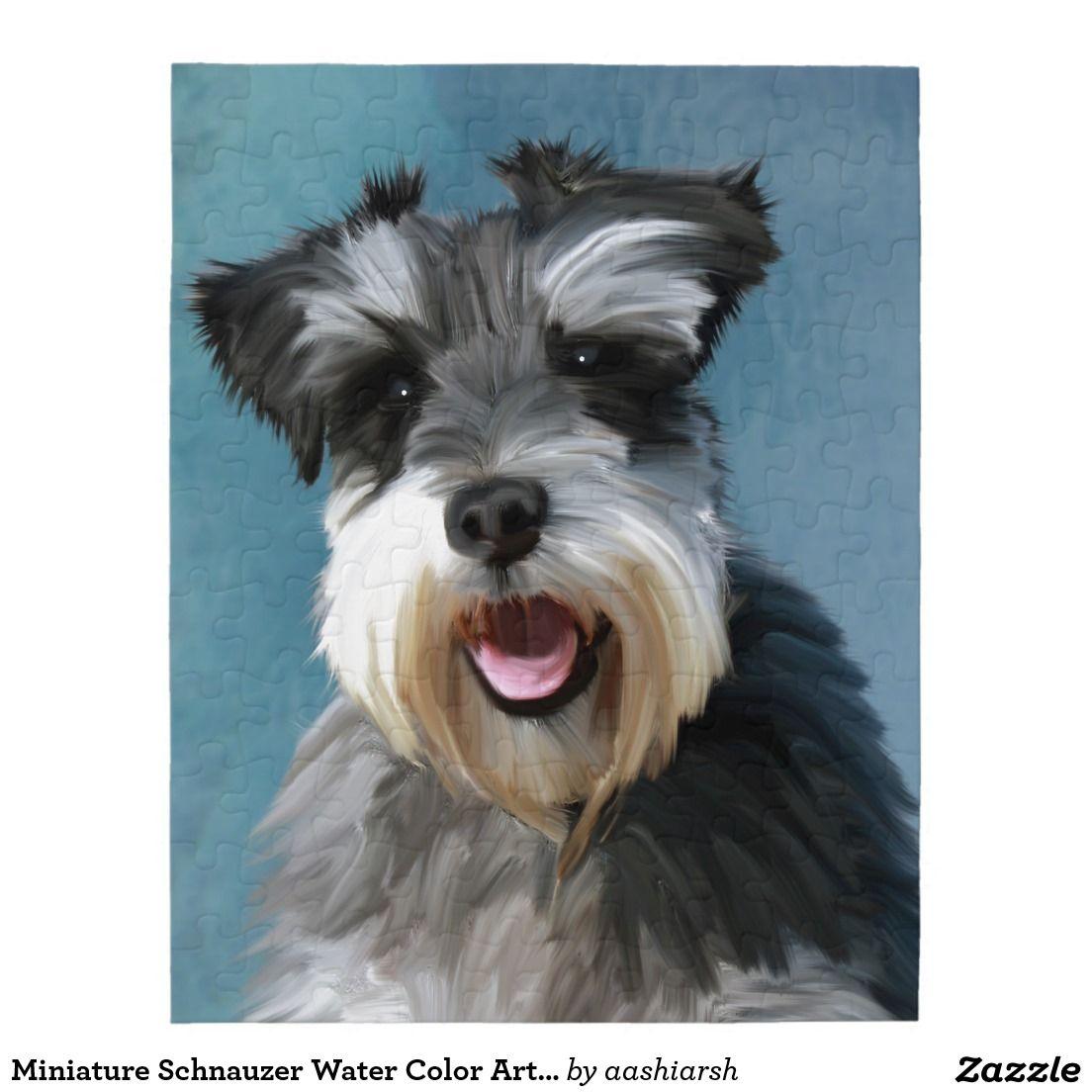 Miniature Schnauzer Water Color Art Painting Jigsaw Puzzle Zazzle Com In 2020 Dog Portraits Painting Schnauzer Art Schnauzer