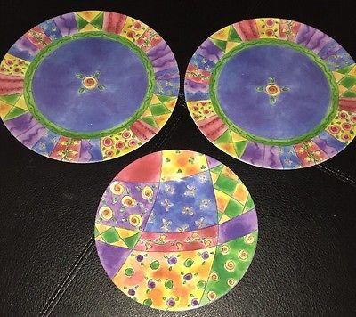 Precidio Melamine 2 Large Colorful Floral dinner plates \u0026 1 Colorful Salad Plate & Precidio Melamine 2 Large Colorful Floral dinner plates \u0026 1 Colorful ...