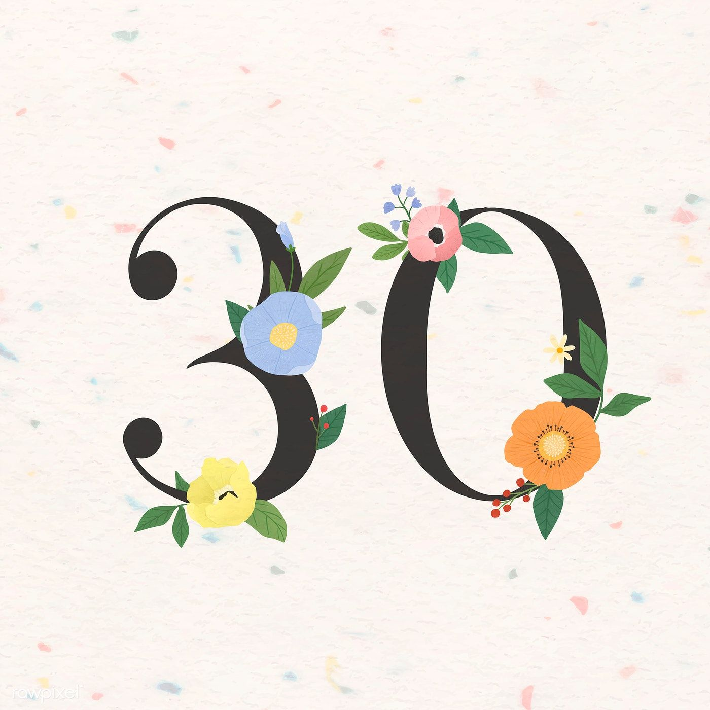 Download Premium Vector Of Watercolor Floral Number 30 Vector