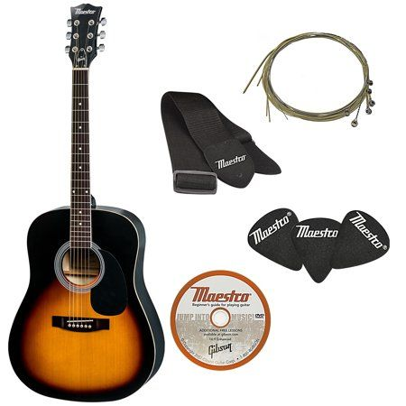 The Maestro By Gibson Full Size Acoustic Guitar Pack Vintage Sunburst Walmart Com Acoustic Guitar Kits Guitar Accessories Guitar Kits